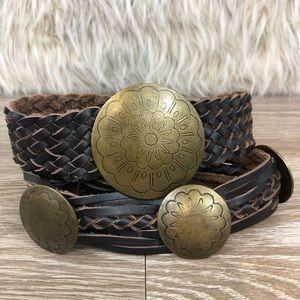 Brown woven leather belt gold round buckle medium